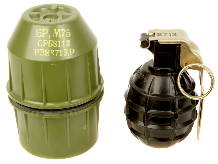 Yugoslavian M75 fragmentation grenade with carrying case