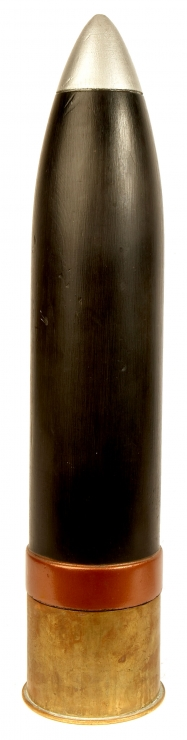 A WWI German 10.5cm Howitzer Brass Shell Case with Wooden Practice Projectile