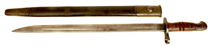 An early WWI British P14 Enfield rifle bayonet & scabbard