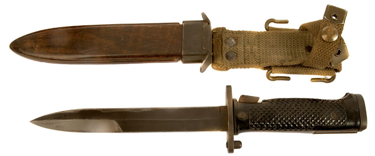rare M/62 Danish M1 Garand Knife Bayonet with its correct scabbard.