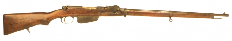 Deactivated WWI Mannlicher M1888 straight pull rifle with battlefield damage
