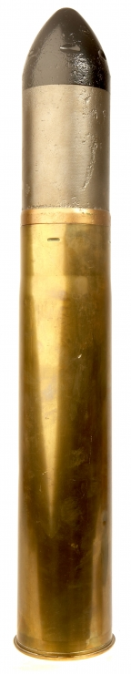 Inert WWII US 75mm M18 tank shell complete with projectile