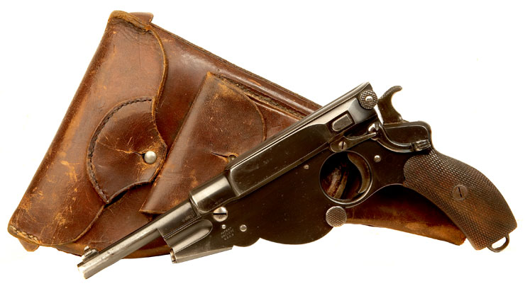 Extremely Rare Obsolete Calibre Bergmann 1896 Pistol with Named Holster