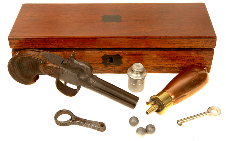 Cased, European Made Box Lock Percussion Pistol