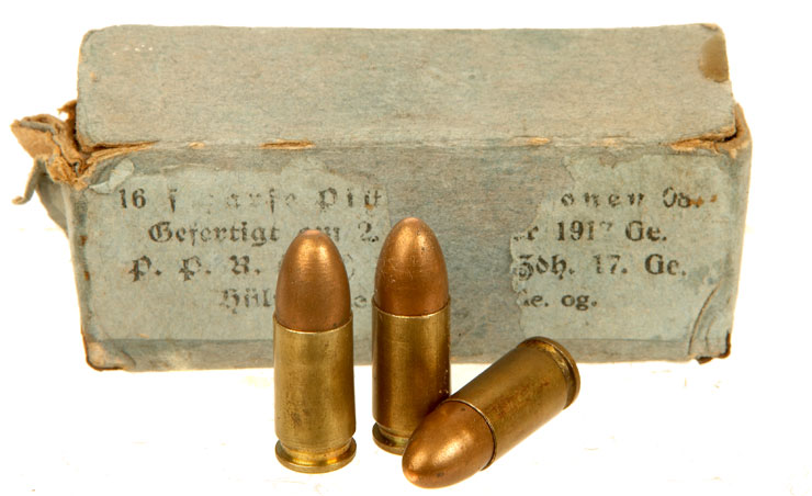 Inert RARE WWI Boxed 9mm German Luger Rounds