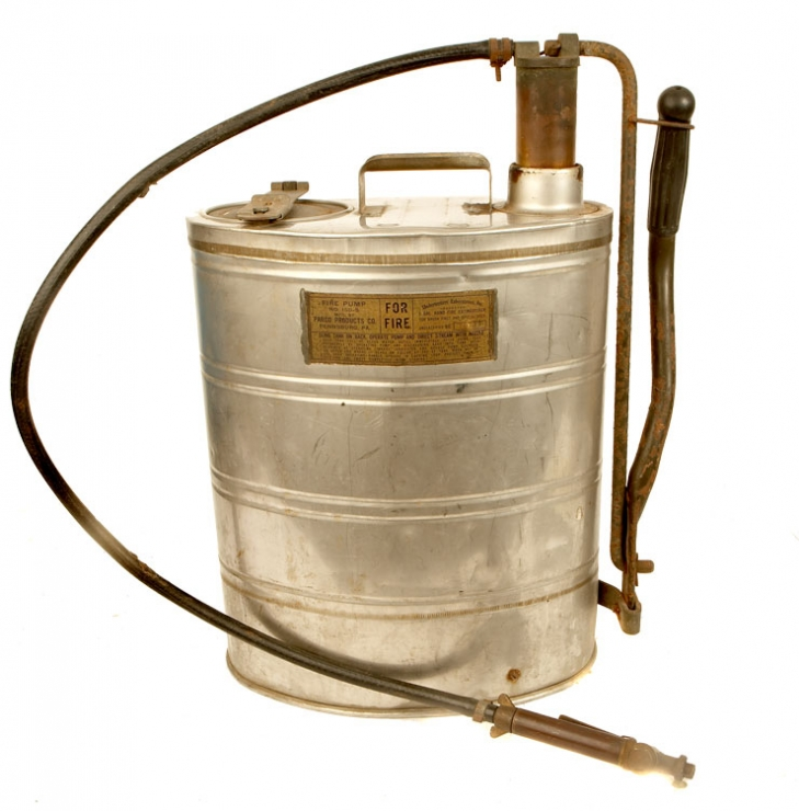 A Second World War era US Parco Products Co, Pennsburg , PA manufactured mobile fire extinguisher