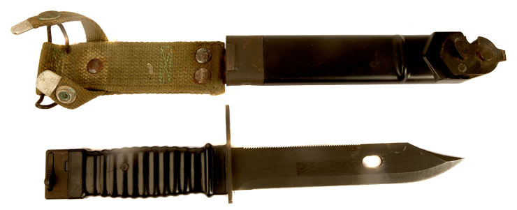 Stoner 63 assault rifle bayonet with its original scabbard and integral frog
