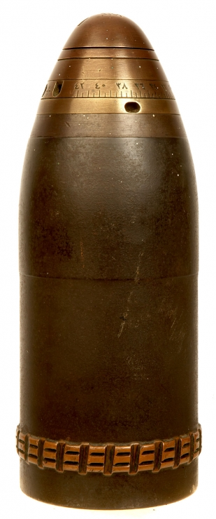 Rare First World War, Turkish 7.5cm Howitzer shell with brass fuse