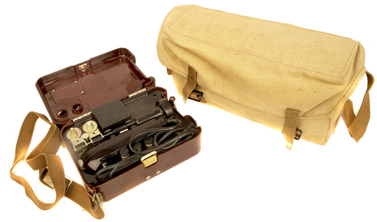An Original Soviet military portable field phone, model TA-57 in its canvas carry bag