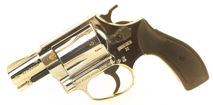 Deactivated Plated Snub Nose Revolver
