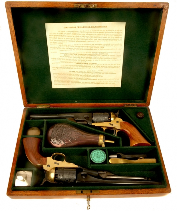 Deactivated Cased Set of Italian made Colt Navy revolvers
