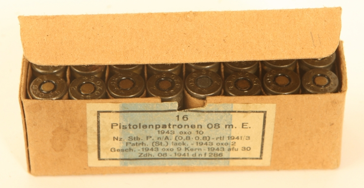 An original box of inert WWII German 9mm rounds.
