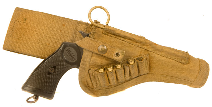 WWII Webley or Enfield .38 open top canvas holster