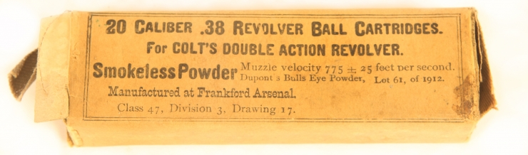 Inert Very Rare 1913 Dated .38 Colt's double action revolver rounds