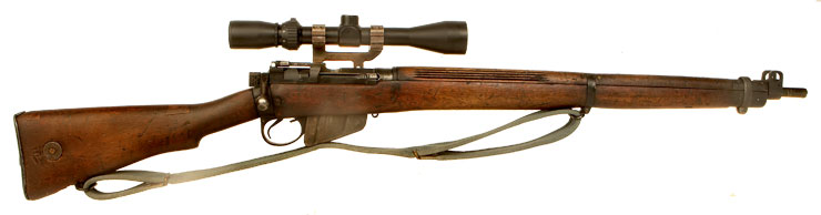 Deactivated WWII Lee Enfield No4 MKI* fitted with scope & mount