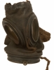 First World War German leather gas mask with container.